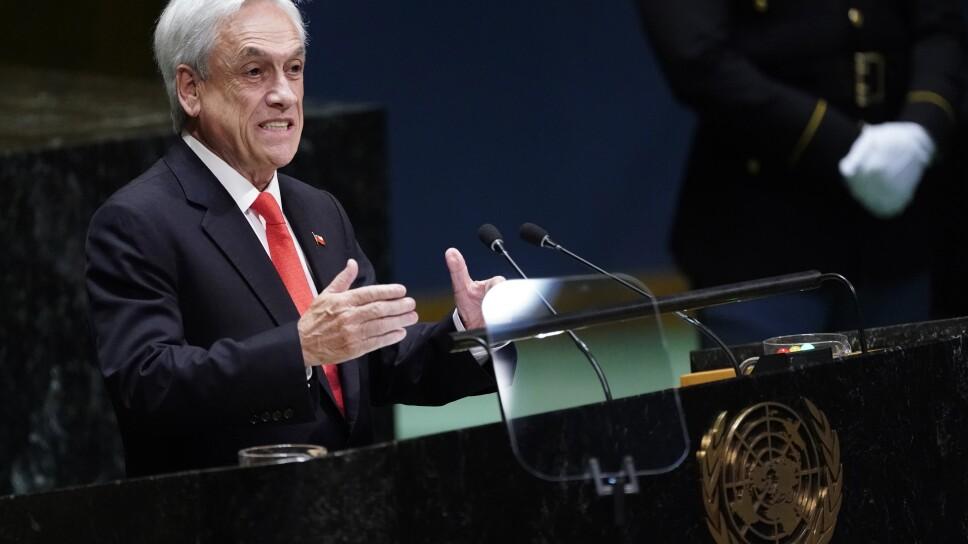 El presidente chileno, Sebastián Piñera, durante un discurso en la Asamblea General de Naciones Unidas en Nueva York