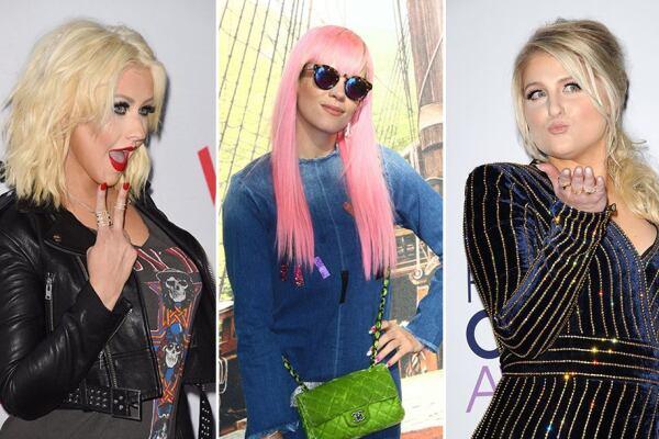 Christina Aguilera, Lily Allen y Meghan Trainor. Fotos: PhotoAMC