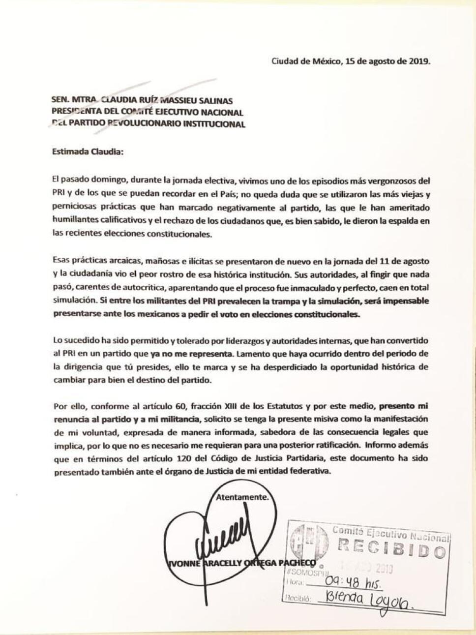 Carta de Renuncia Ortega