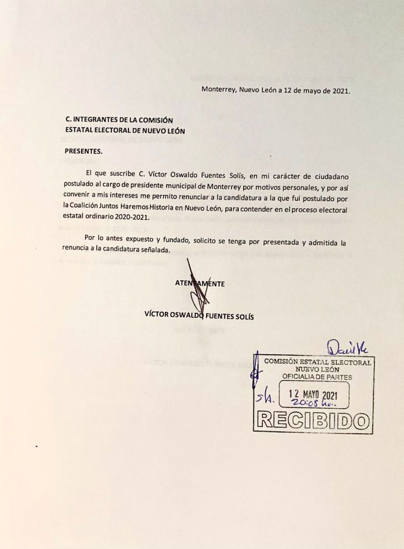 Renuncia a candidatura Víctor Fuentes por alcaldía de Monterrey 2.jpeg