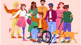Group of diverse disabled people and guide dog