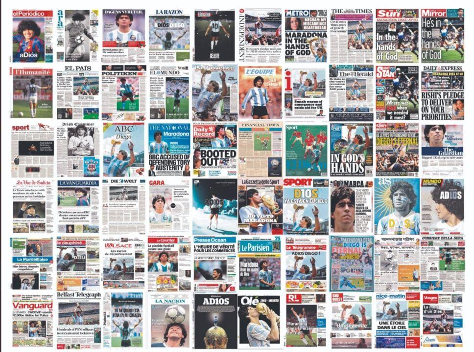Portadas del mundo recuerdan a Maradona