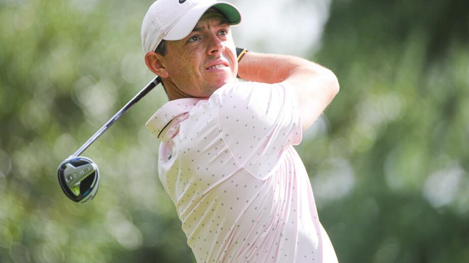 Rory McIlroy durante la ronda de práctica del PGA Championship