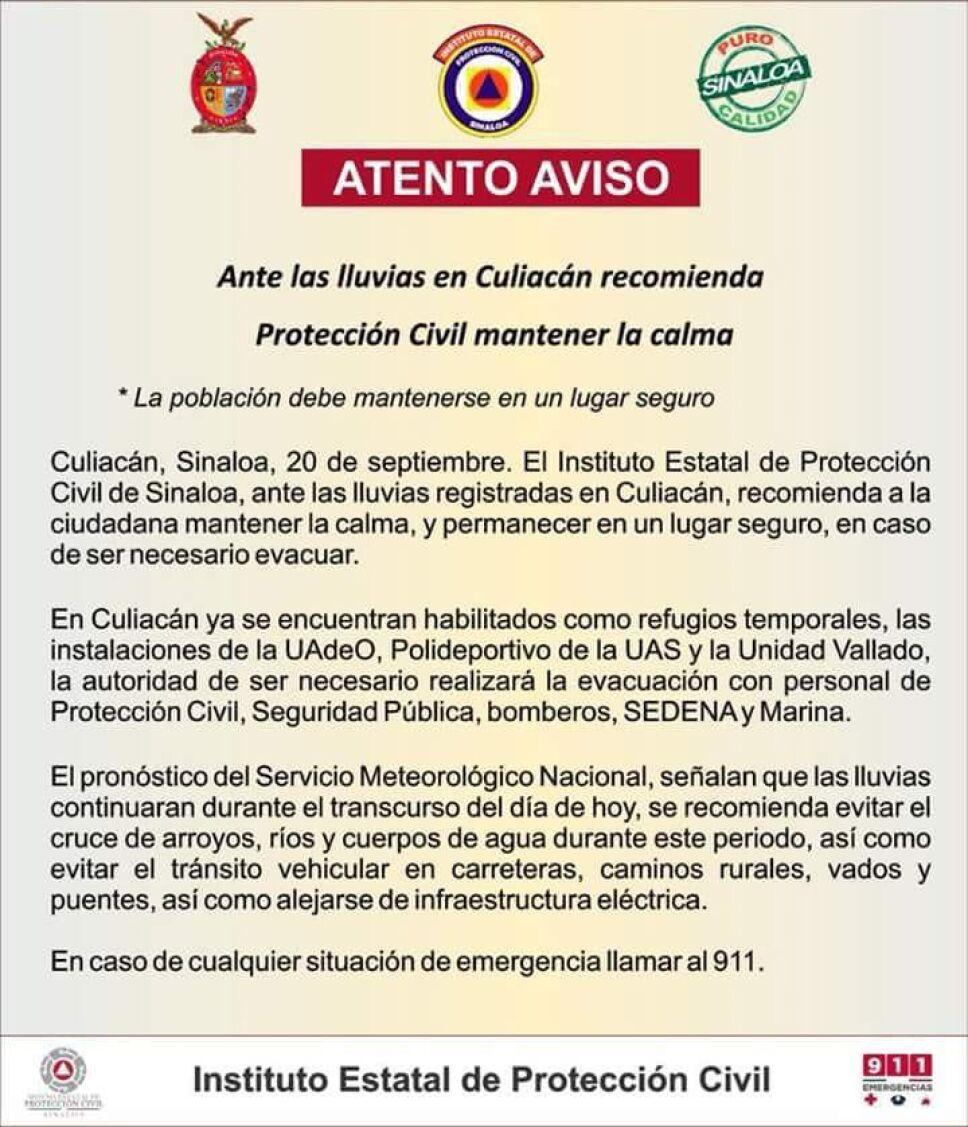 Instituto estatal de proteccion civil de Sinaloa