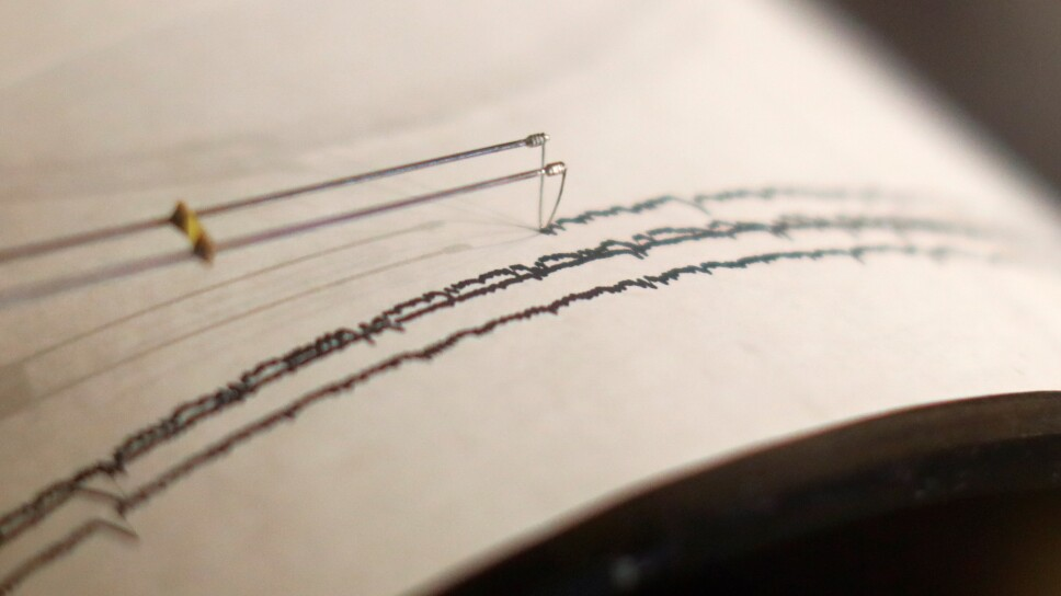 Foto de archivo. Un sismógrafo en funcionamiento durante un simulacro en Santa Ana, California, Estados Unidos.