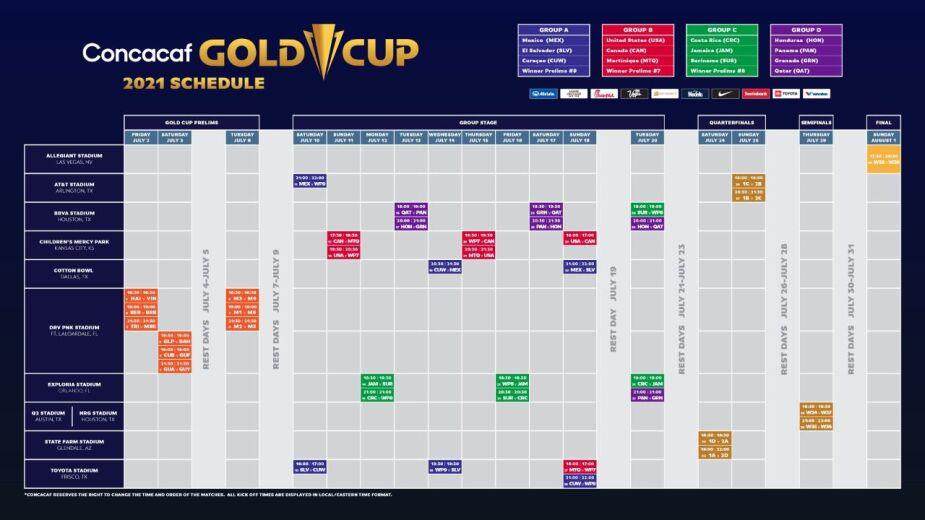 Calendario completo de Copa Oro 2021