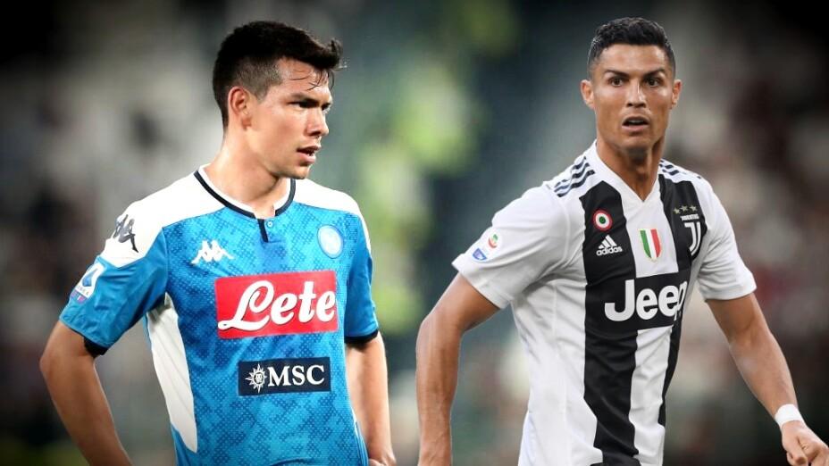 Hirving Lozano y Cristiano Ronaldo