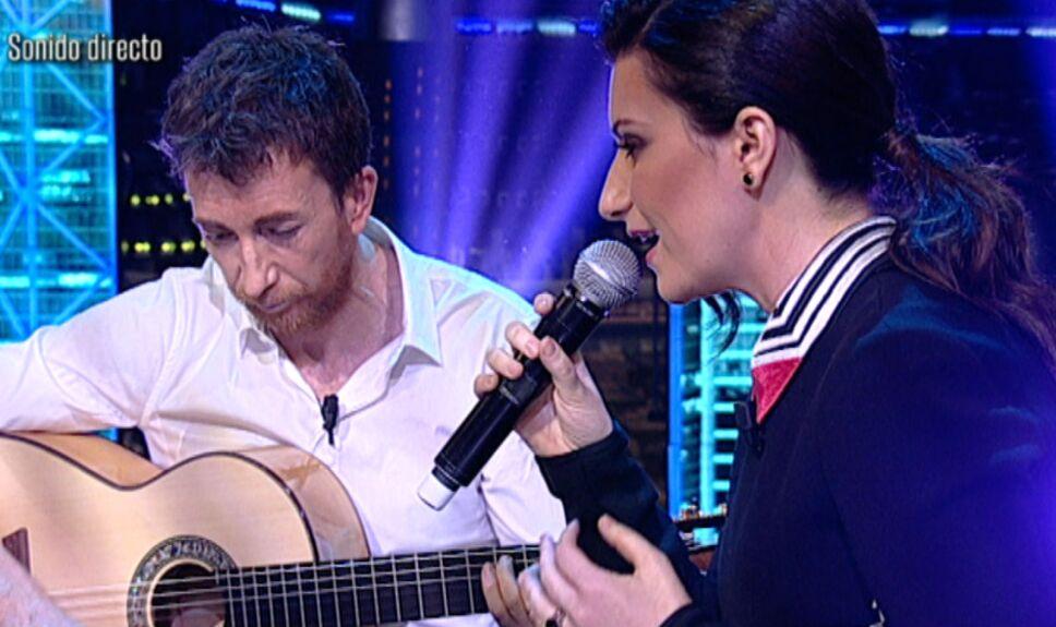 Laura Pausini canta con Pablo Motos en El Hormiguero
