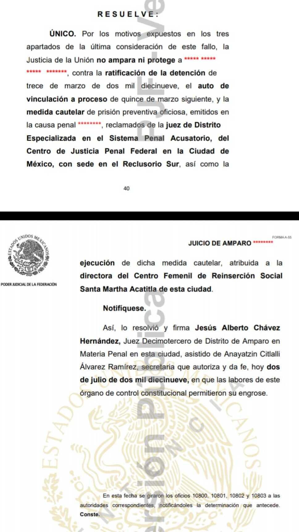 Avala juez vinculación a proceso contra la hija de El Ojos