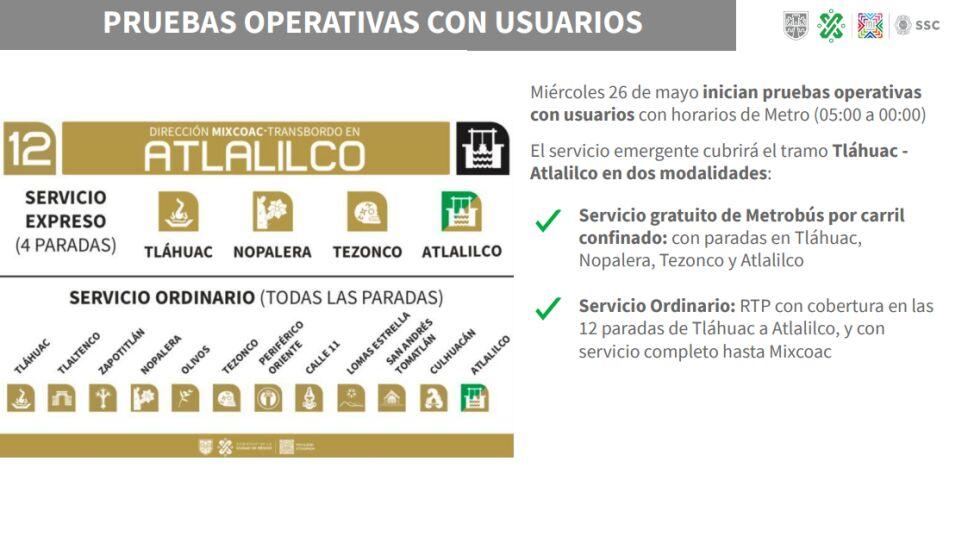 El servicio del Metrobús por el momento será exprés entre las estaciones Atlalilco y Tláhuac de la Línea 12.