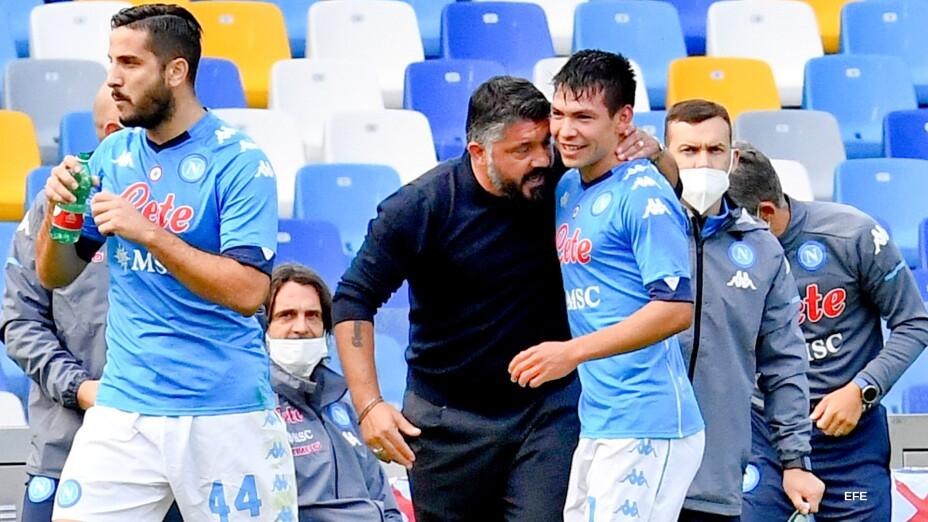Hirving Lozano con Gennaro Gattuso