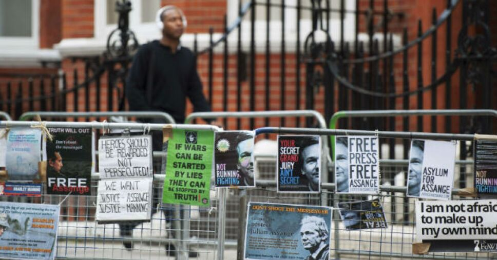 Manifestación a favor de Assange en Londres