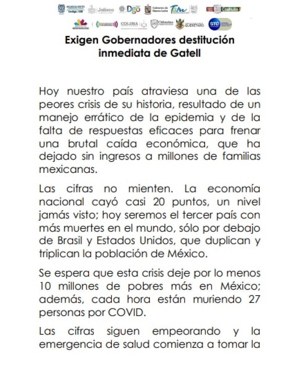 Exigen gobernadores renuncia inmediata de López-Gatell (1)